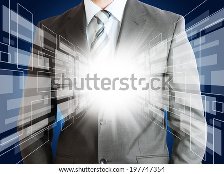Businessman in suit with glowing abstract background. Planes and rays glow - stock photo