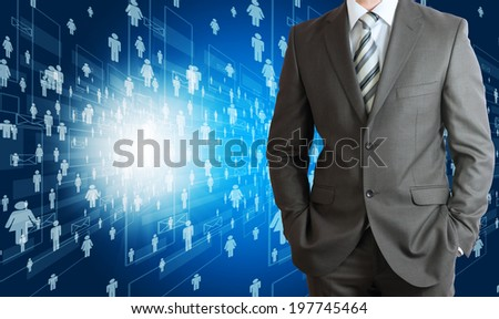 Businessman in suit with people icons. Concept of social correspondence - stock photo