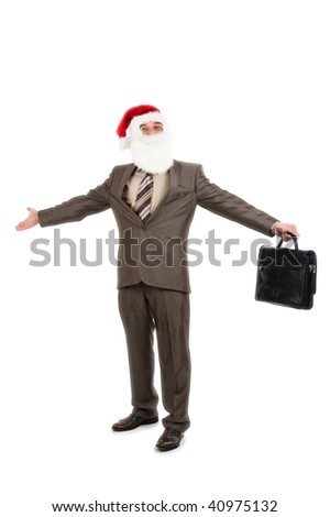 Businessman in suit with santa hat on head holding briefcase. Isolated over white background - stock photo