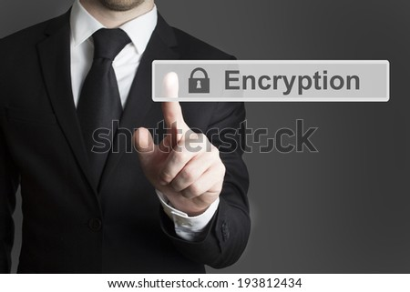 businessman in suite pressing touchscreen encryption - stock photo