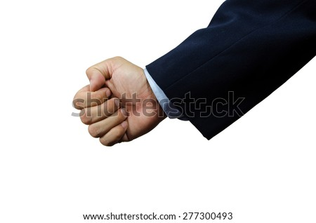 Businessman in suite throwing single right punch