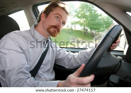 Businessman in the car, inside