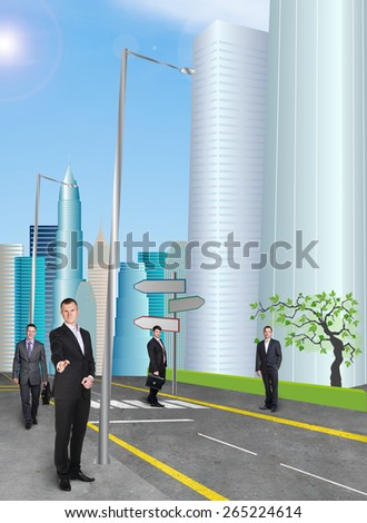 Businessman in the city street