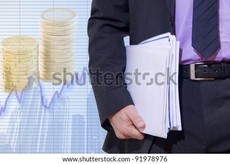 businessman in the current economic - stock photo
