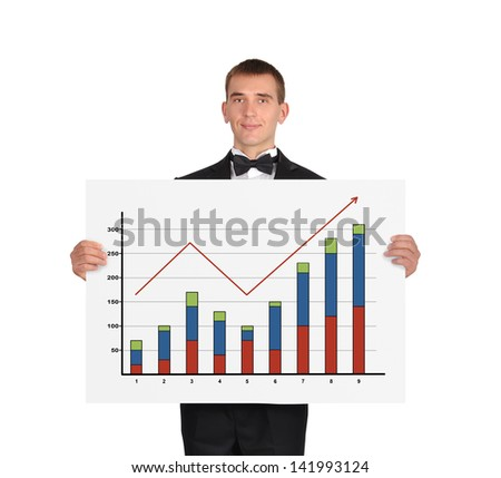 businessman in tuxedo holding a placard with chart of profits - stock photo