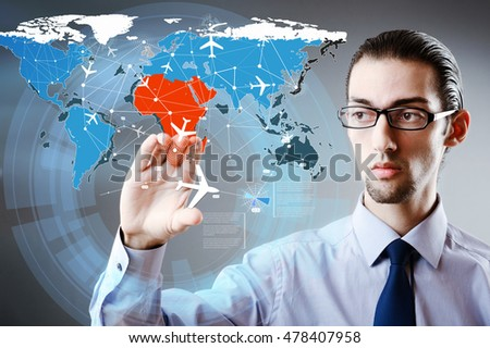 Businessman in world transportation concept