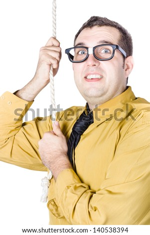 Businessman in yellow shirt and brown tie with both hands pulling on a rope trying to climb up the corporate ladder - stock photo