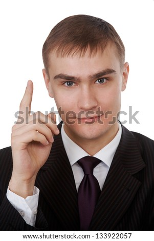 Businessman index finger up gesture