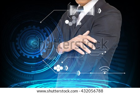 Businessman interface against blue - stock photo