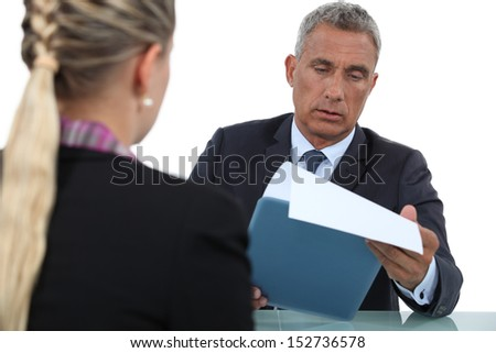 Businessman interviewing - stock photo