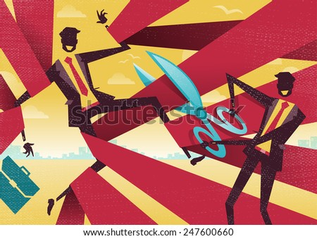 Businessman is cut free from Bureaucratic Red Tape. Great illustration of Retro styled Abstract Businessman using Scissors to free his buddy from bureaucratic red tape. - stock photo