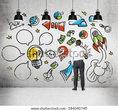 Businessman is drawing a sketch on the wall, how to create and develop business project. - stock photo