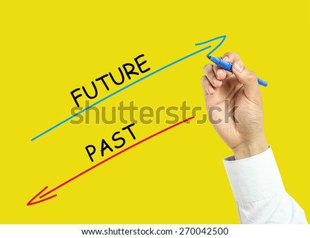 Businessman is drawing future and past concept with marker on transparent board with yellow background. - stock photo