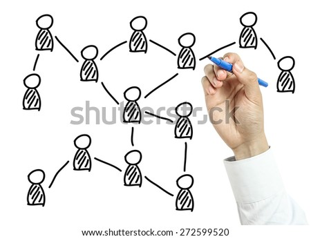 Businessman is drawing social network concept with blue marker on transparent board isolated on white background.