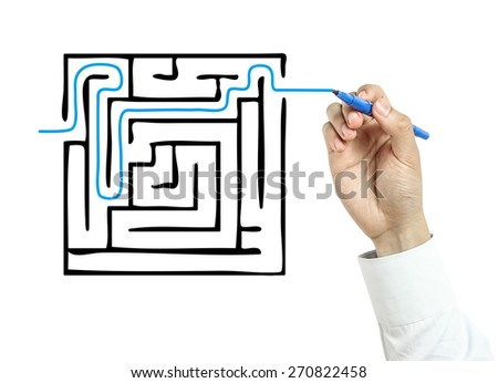 Businessman is drawing Solution concept with blue marker on transparent board isolated on white background. - stock photo