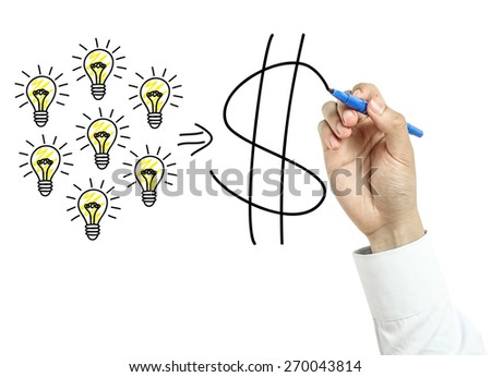 Businessman is drawing success concept with blue marker on transparent board isolated on white background. - stock photo