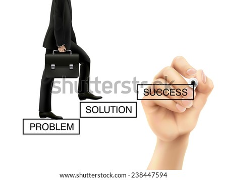 businessman is going up to the future success over white background - stock photo
