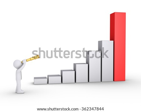 Businessman is looking through a telescope at a rising graphic chart