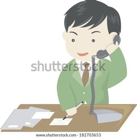 Businessman is on call at a desk