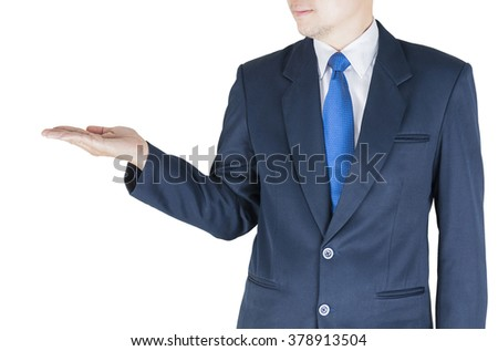 Businessman is open his palm upwards to present something. Photo includes clipping path. - stock photo