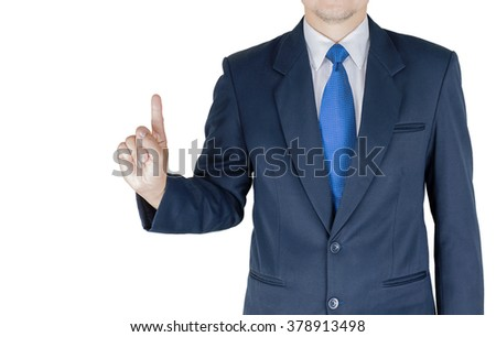 Businessman is pointing his index finger upwards over white background. Photo is focused at hand. Photo includes clipping path. - stock photo