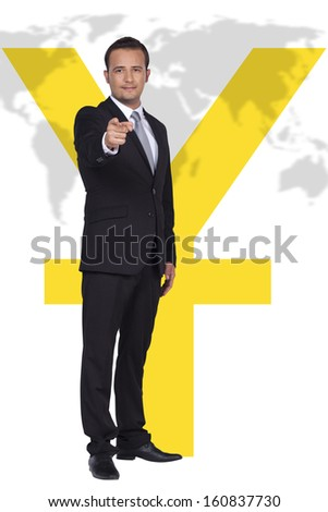Businessman is pointing to Chinese economy front of the world map