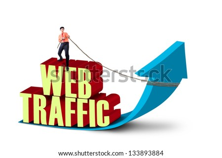Businessman is pulling web traffic sign on white background - stock photo