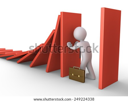 Businessman is pushing a tile to stop the domino effect - stock photo