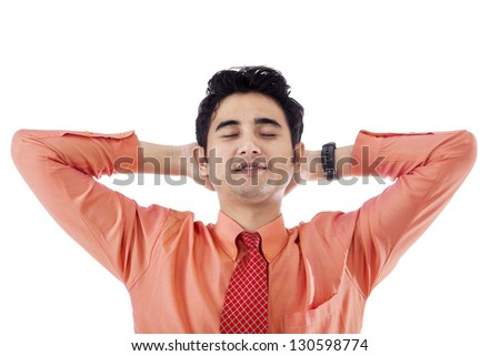 Businessman is relaxing on white background - stock photo
