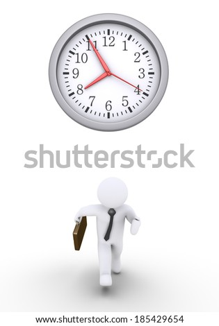 Businessman is running and a round clock