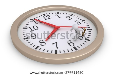 Businessman is running inside a round clock to catch the time - stock photo