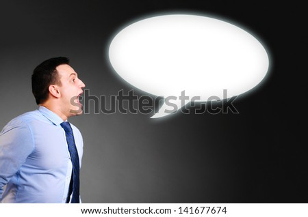 businessman is screaming a blank banner