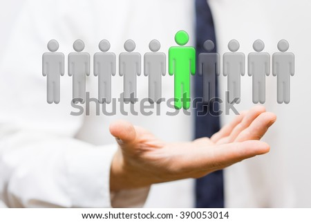 businessman is showing selection of top staff, employment concept - stock photo