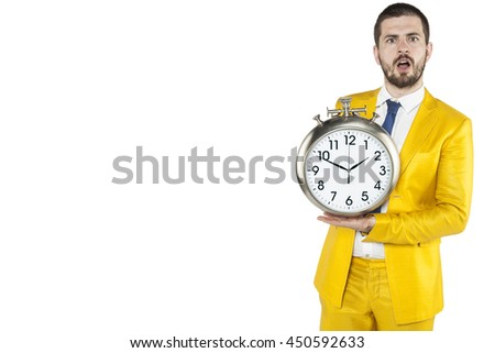businessman is surprised because it was so late