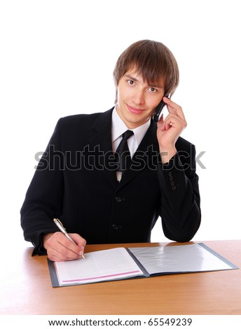 businessman is talking on the phone and sign documents. Isolated at white background - stock photo