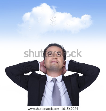 Businessman is thinking profitable cloud business - stock photo