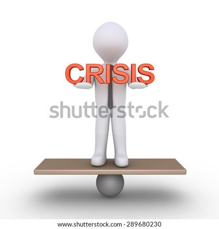Businessman is trying to balance holding CRISIS word - stock photo