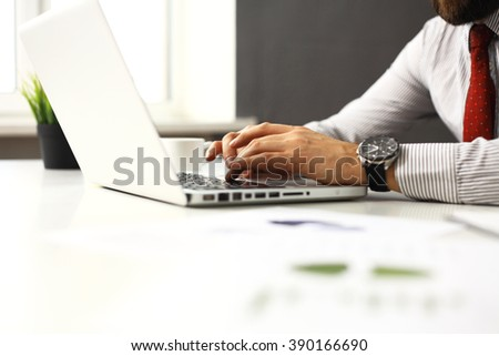 businessman is typing on keyboard - stock photo