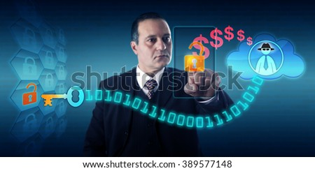 Businessman is unlocking a virtual lock via touch on his mobile to send ransom payment to a black hat hacker in the cloud, thus obtaining a decryption key. Security concept for encrypting ransomware. - stock photo