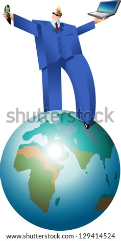 Businessman is walking over the Globe. Raster image. Find an editable version in my portfolio.