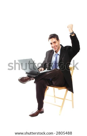 businessman is working on his laptop with smile