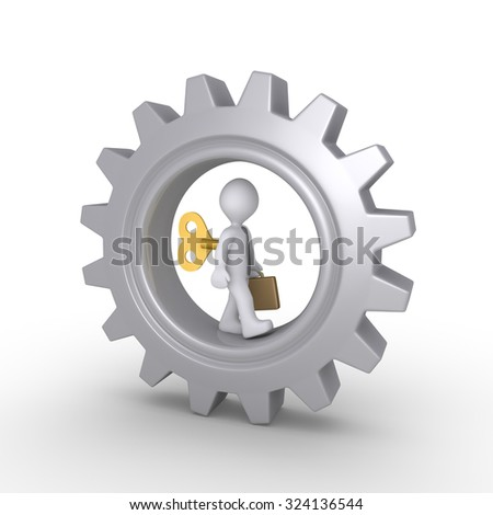 Businessman is wound up and walking inside a cogwheel - stock photo