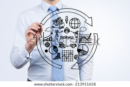 Businessman is writing the flow chart and trying to imply it into a new start up project. A concept of a cycle of the business development. - stock photo