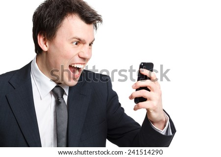 businessman isolated on white shouting at the phone