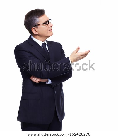 Businessman isolated over white background presenting copyspace. - stock photo
