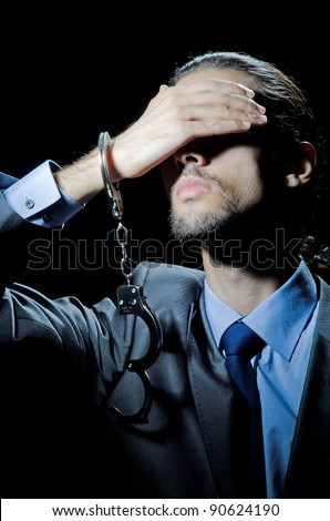 Businessman jailed for his crimes - stock photo