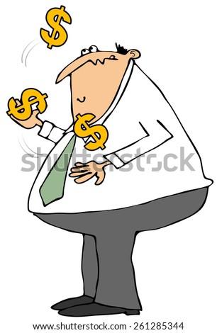 Businessman juggling dollar signs - stock photo