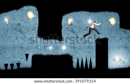 businessman jump in cave platform game
