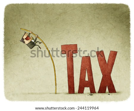 businessman jump over a tax with a pole - stock photo