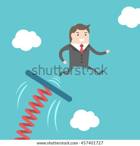 Businessman jumping from springboard on blue sky background. Business, success, start, beginning, courage, progress and career concept
